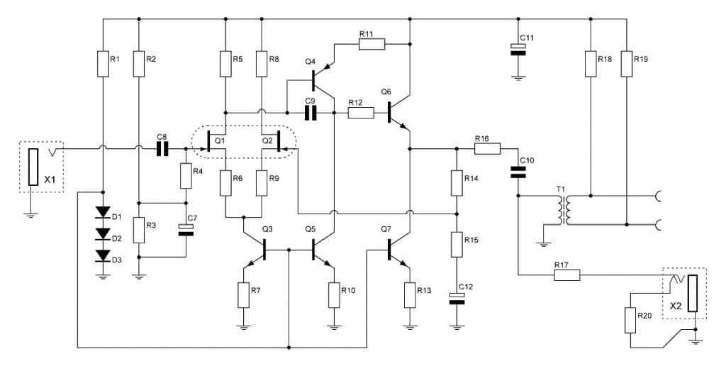 Discrete Op-Amp Jfet Active DI Schematic Sketch